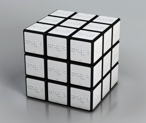 witte Rubik's kubus met braille.