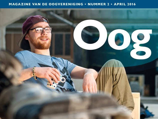 Oog, het magazine van de Oogvereniging, met op de cover de slechtziende skater Ruben Smulders