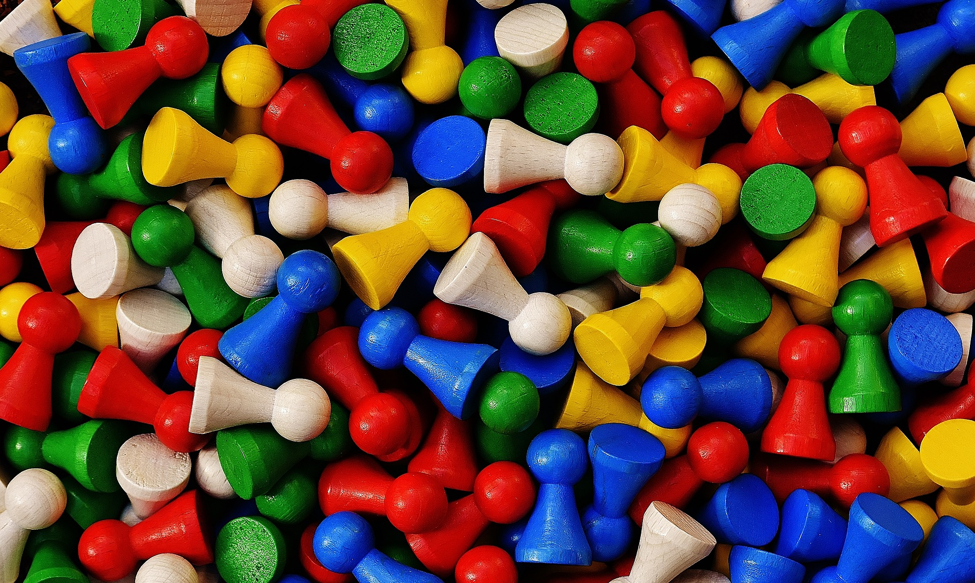 gekleurde pionnen, speelgoed