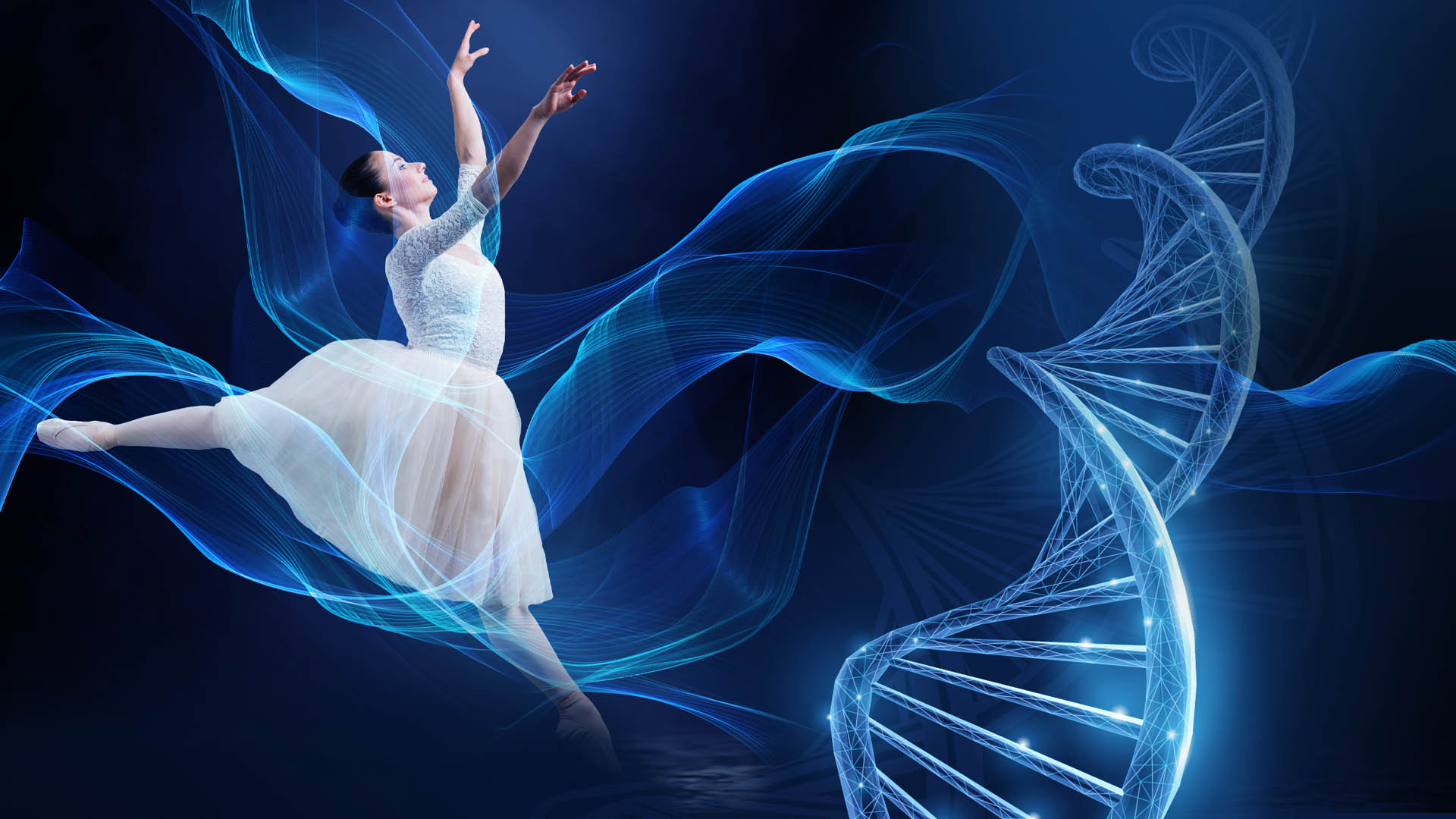 Visual Oogcongres met danseres en DNA-streng